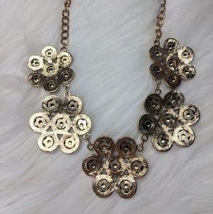 mika Jewelry - Mika Brass Flower Bibb Necklace